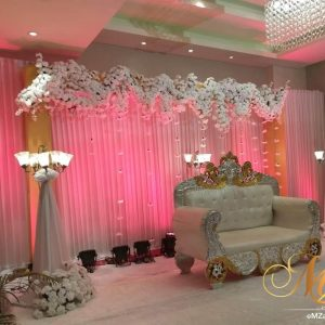 wedding stage, white stage, flowers, lighting, elegant wedding designs