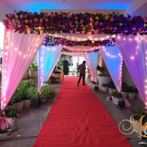 grand entrance, wedding entrance, flowers, lightning