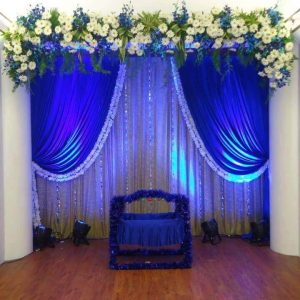 name ceremony, kids blue decoration, lighting, event management company, kids cradle, function