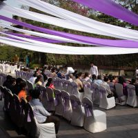 pool party, purple decoration, casual event, event management company pune