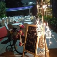 lamps, fairy lights, seating area, cycle, blackboard, wedding decorations, wedding pieces