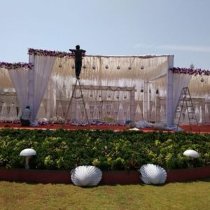 wedding stage, grand stage, backdrop, white theme, wedding consultations, event management company, wedding arrangements