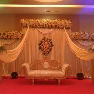 wedding stage, grand stage, backdrop, white theme, wedding consultations, event management company