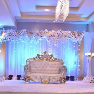 white theme decorations, wedding decorations, wedding backdrop designs, event management company, wedding planner